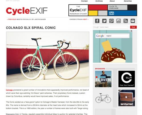 Colnago SLX Sprial Conic di Fabio su Cycle Exif, portale Australiano